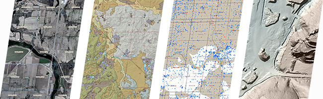 clearinghouse banner, orthophotography, geology, water wells, lidar