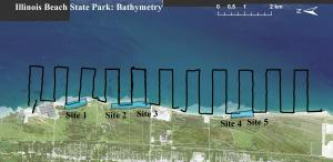 Map of Illinois Beach State Park depicting locations of single-beam bathymetry data collection
