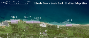 map of Illinois Beach State Park depicting the four sites where coastal habitat maps were produced.