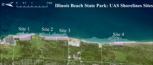 map of Illinois Beach State Park depicting the four sites where shoreline polylines were digitized.