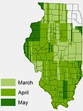 Map of 2011 IDOT orthophotos by month of image capture